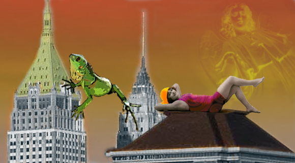 Image of a giant lizard who is climbing by a woman sunbather