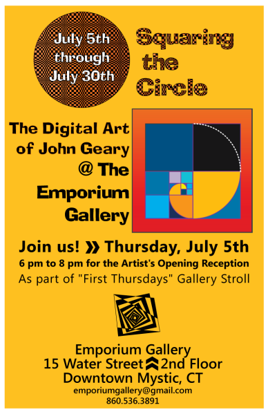 Image of promotional poster for John Geary's art exhibit