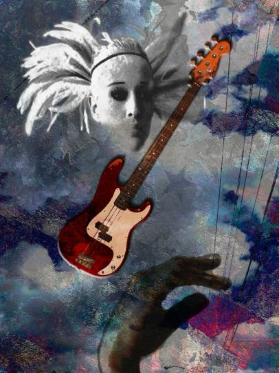 Image of bass guitar seen by punk angel