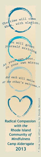 Image of bookmark design with quote from Derek Walcott