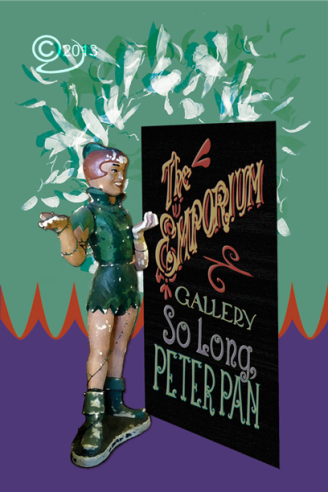 Image of Peter Pan and billboard on postcard