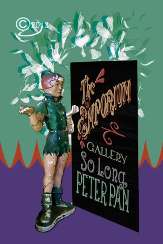 Image of Peter Pan and billboard on postcard