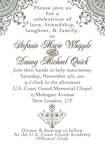 A wedding invitation design in soft pewter and gold, made for the Quirks