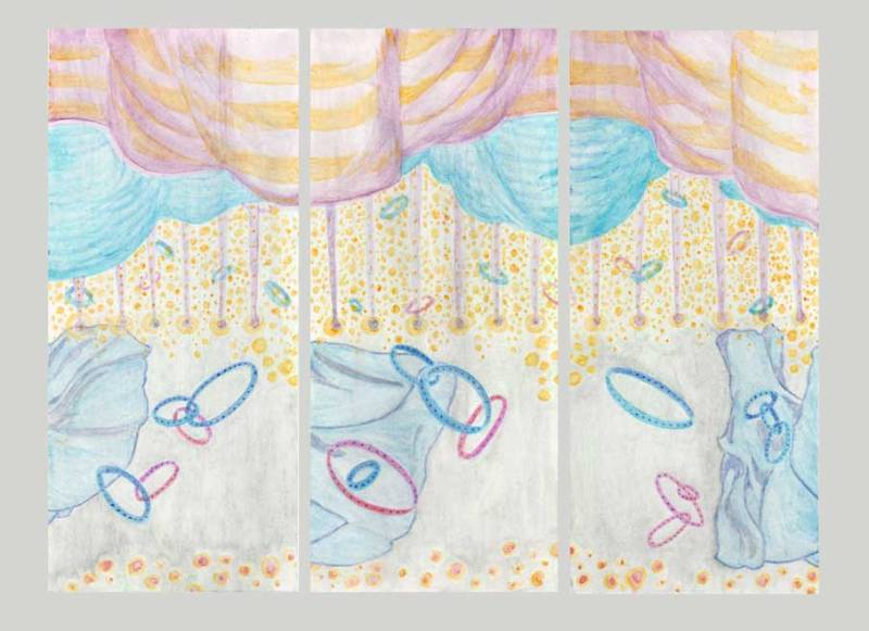 Gelato painted triptych with billowy curtains and flying rings