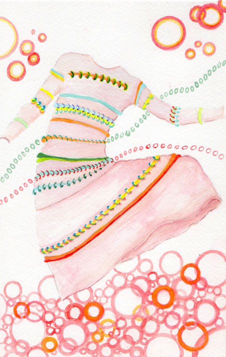 watercolor painting of a designer dress that is surrounded by circles
