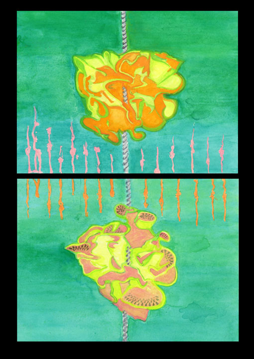 abstract-surreal gouache diptych of melon wedges with a long screw running from bottom to top