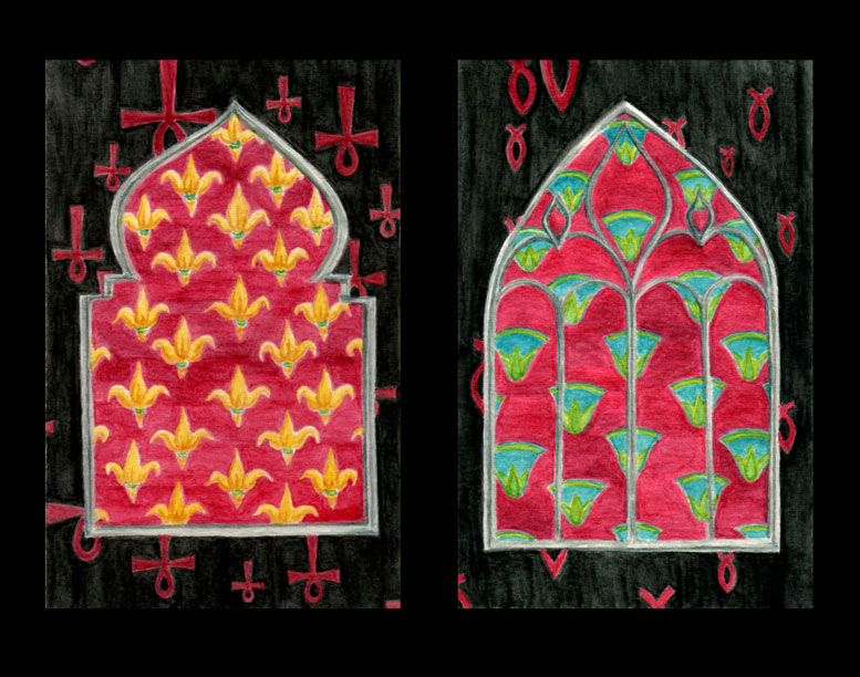 Diptych painted in Gelatos of two ornate windows set against black with red religious symbols