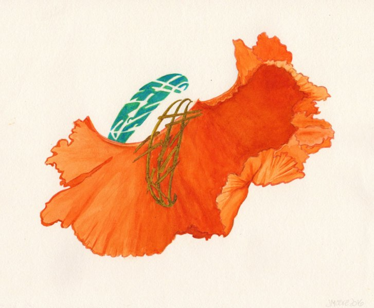 cavalli dress painted in orange watercolors with two abstract elements