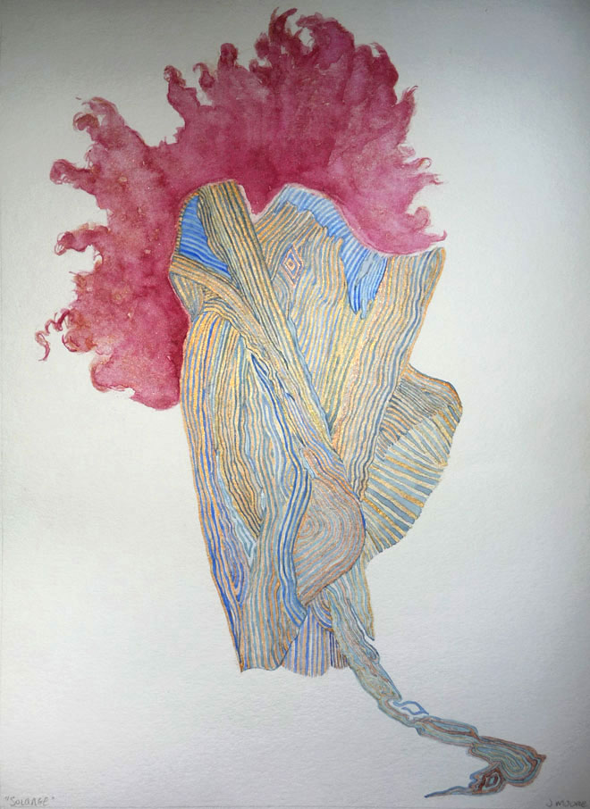 watercolor painting of a gown designed by Issey Miyake with only the model's hair featured behind the gown