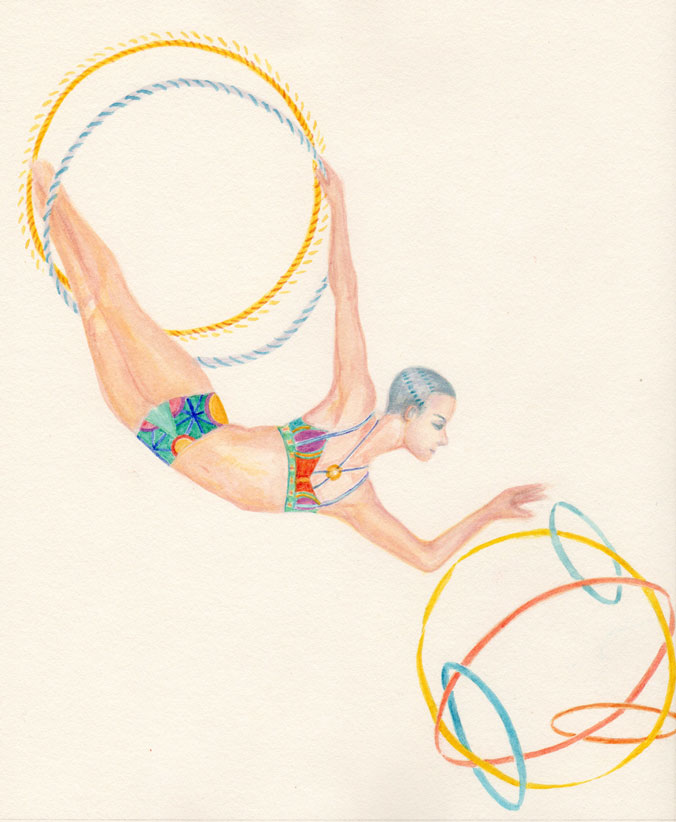 A watercolor painting of an androgynous aerialist who is mid-air and wearing a two piece costume.