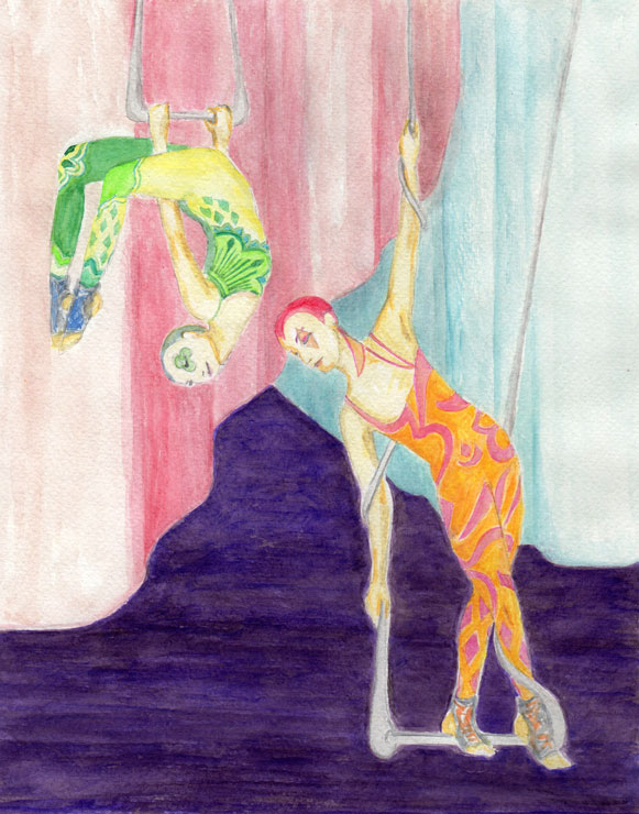 Two aerialists on swings depicted in front of curtains