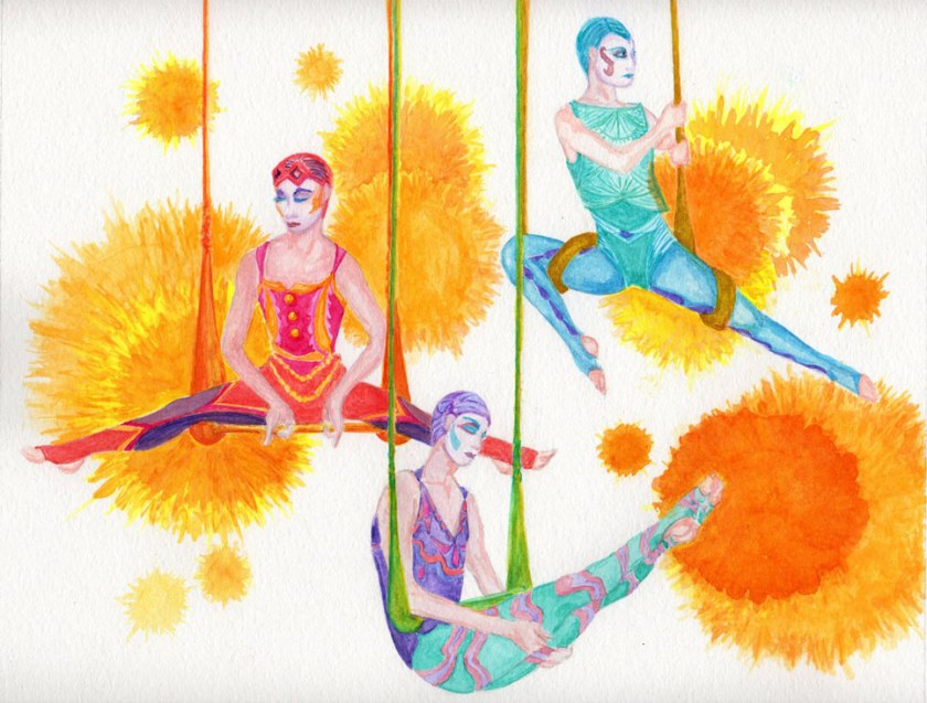 Three female aerialists on swings are wearing costumes that were inspired by the Flapper look of the 1920s.