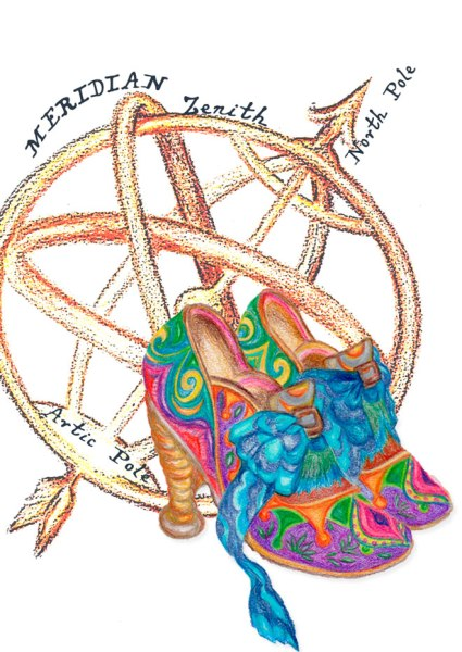 Depiction of vivid fantasy shoes, sketched in color pencils. Behind the shoes, a gyro-globe compass.