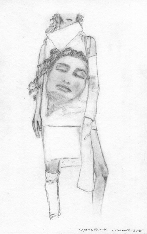 Pencil sketch of a white Rick Owens outfit as worn by model Sveta Black