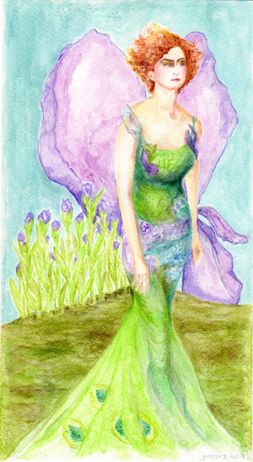 watercolor painting of a red haired woman wearing a Galliano gown. Featuring Iris bloom in the background, with the gown in the colors of a peacock.