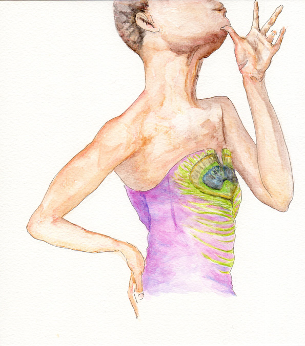 watercolor painting taken from a photo by Marc de Groot of a black female model, featuring her hands