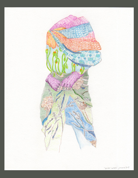 A colored pencil sketch of a female body wrapped in knitted wear and scarves.