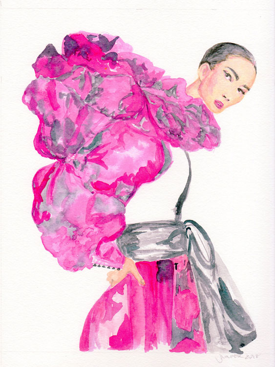 Watercolor fashion illustration of model Hyunji Shin in a fuchsia Marc Jacobs gown, from photo by Terry Tsiolis