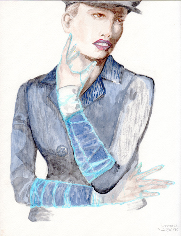 Watercolor illustration of a Willy Venderperre photo featuring a woman wearing a military jacket and hat, with blue mesh gloves