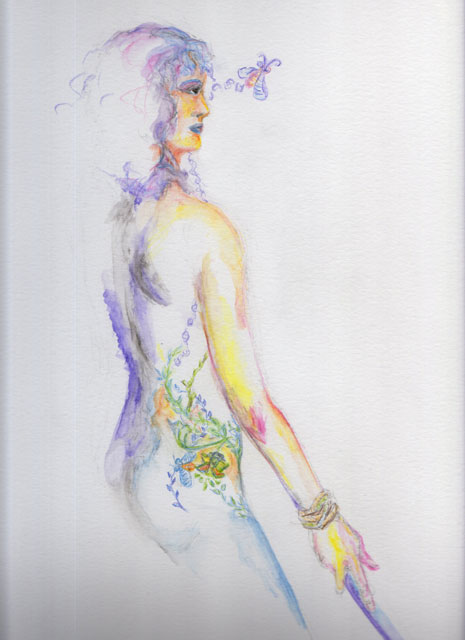 Watercolor pencil sketch of a female nude with a focus on her back and the tattoo at her hip