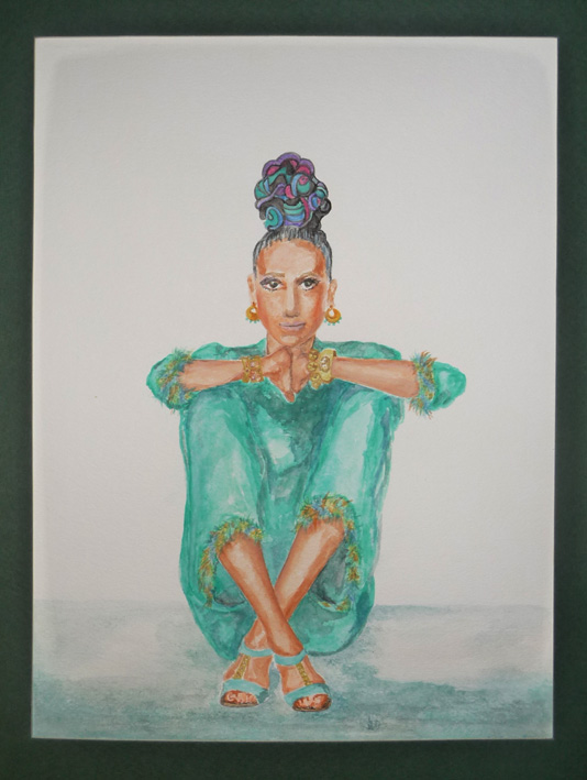 Gouache painting of an Irving Penn photo which features Marisa Berenson, with artistic modification of colors and hair