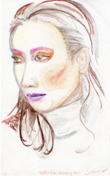 Colored pencil with water sketch of natasha ramsay-levi