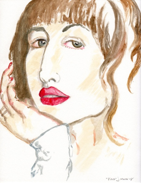 Gouache painting of the face of Piera Gelardi