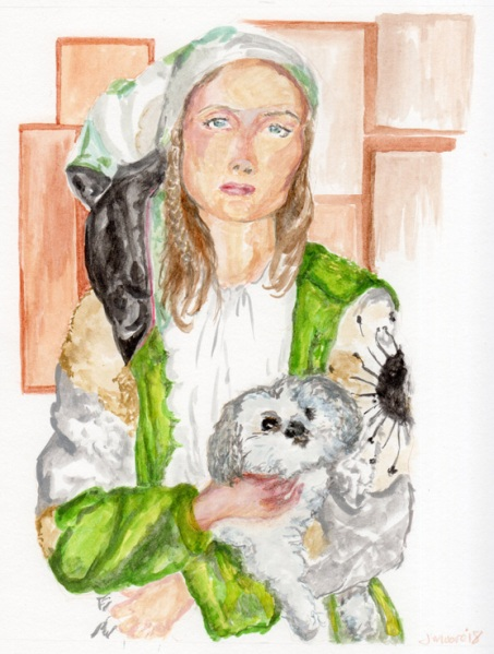 A gouache portrait of Tasha Tilberg from a Robert Nethery photo in which she holds a small white dog