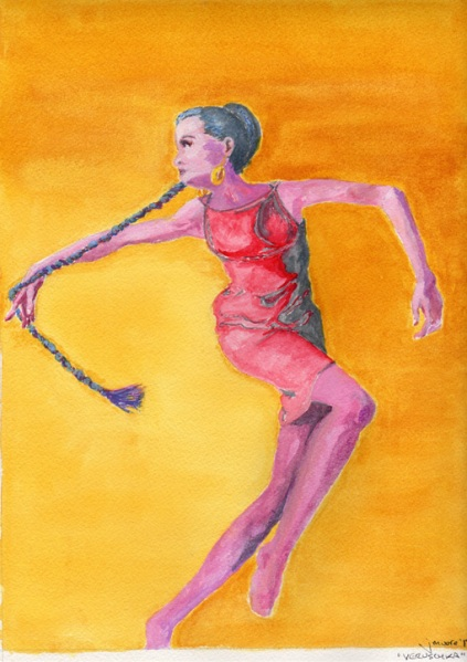 Gouache and watercolor painting of Veruschka in reds and purple against a bright yellow background