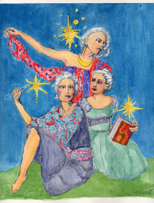 A vibrant gouache painting which depicts three female muses in tribute to all arts