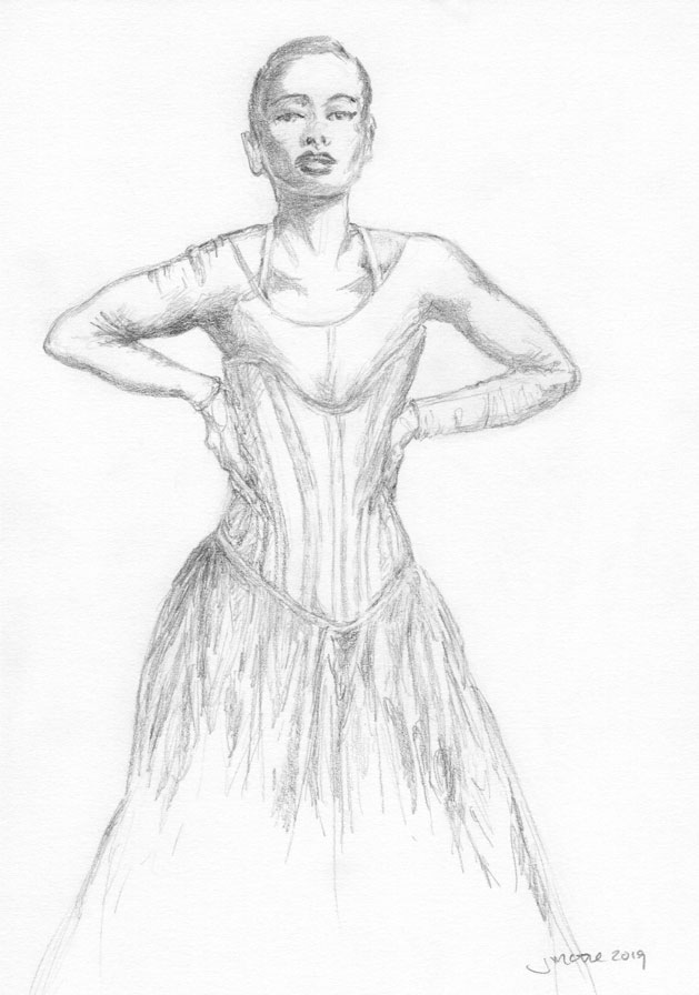 Pencil sketch from a photo taken by Mario Sorrenti depicting Hailey Bieber in a Dior ensemble.