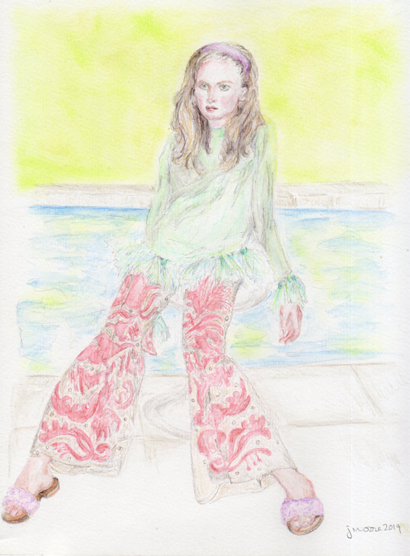 Colored pencil sketch with wash depicting model Rianne Van Rompaey wearing a Valentino ensemble. featured in the Spring issue of W Magazine.