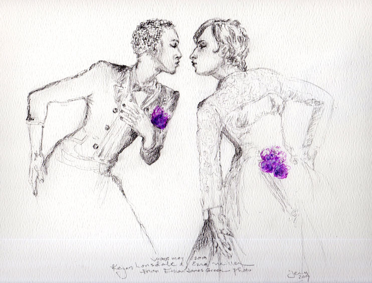 Pencil sketch of an Ethan James Green photo for Vogue of two young men in a matrimonial pose.