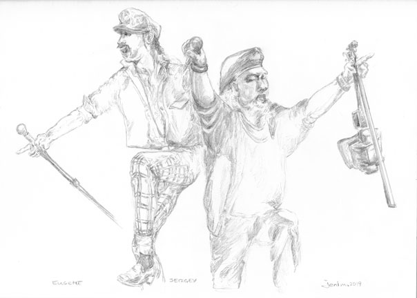 Pencil sketch of gypsy punk band members, Gogol Bordello's Eugene and Sergey.