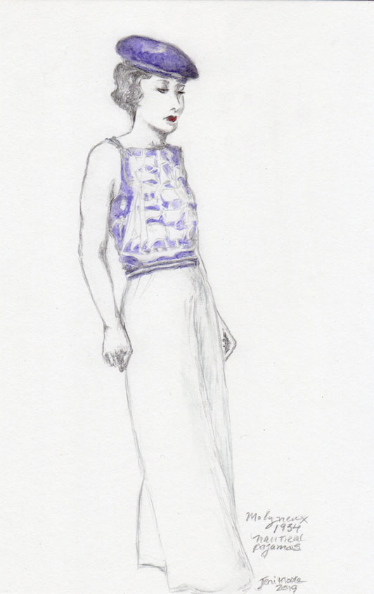 A sketch and watercolor taken from a d'Ora 1934 photo of a model wearing nautical theme pajamas.
