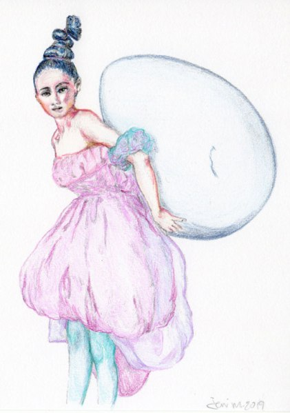 color pencil sketch of a tim walker photo